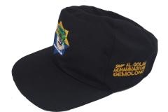 Topi SMP warna hitam samping serong